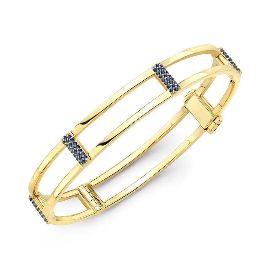 Locking Cage Bracelet | Yellow Gold with Blue Sapphires on Posts