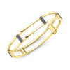 Locking Cage Bracelet | Yellow Gold with Blue Sapphire Posts