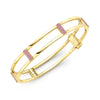Locking Cage Bracelet | Yellow Gold with Pink Sapphire Posts