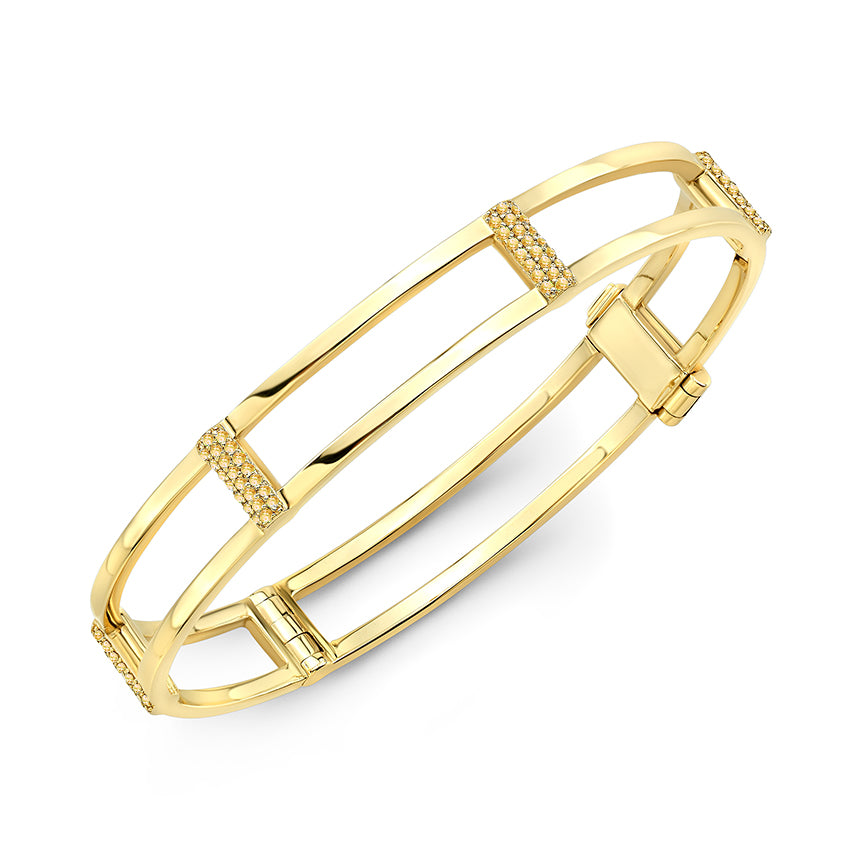 Locking Cage Bracelet | Yellow Gold with Yellow Sapphires on Posts