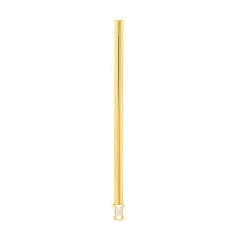 Single Long Line Earring with Baguette Diamond | 14K Yellow Gold