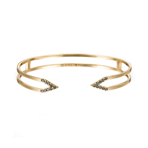 Dagger Cuff  | Yellow Gold with Black Diamonds