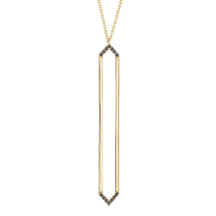 Marquis Lariat | 14K Gold with Black Diamonds on Points