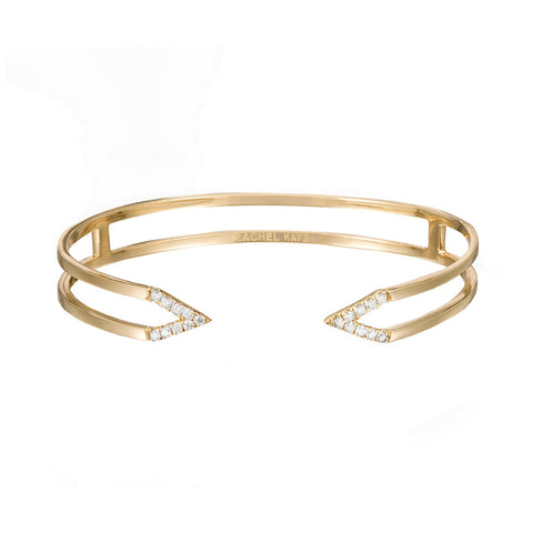 Dagger Cuff  | Yellow Gold with White Diamonds