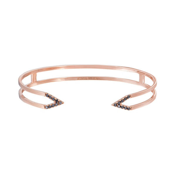 Dagger Cuff  | 14K Rose Gold with Black Diamonds