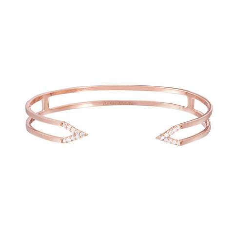 Dagger Cuff  | 14K Rose Gold with White Diamonds