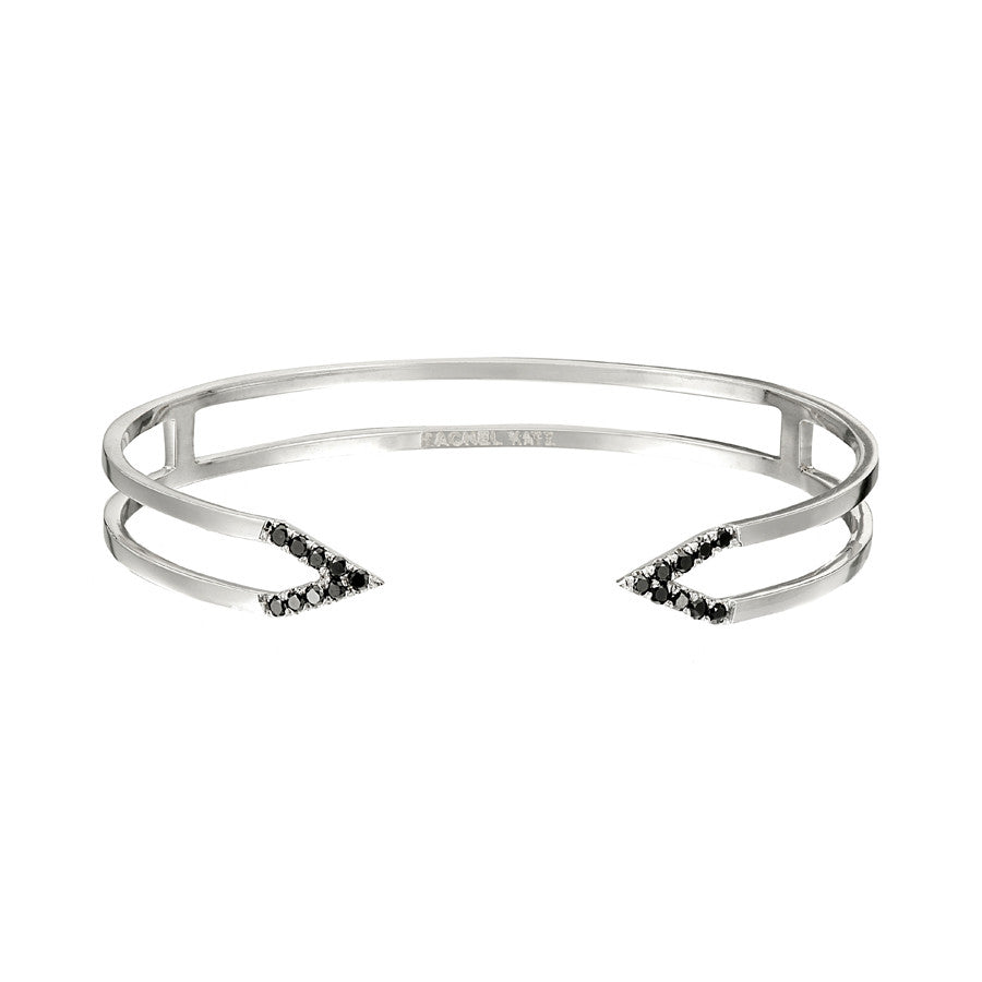 Dagger Cuff  | White Gold with Black Diamonds
