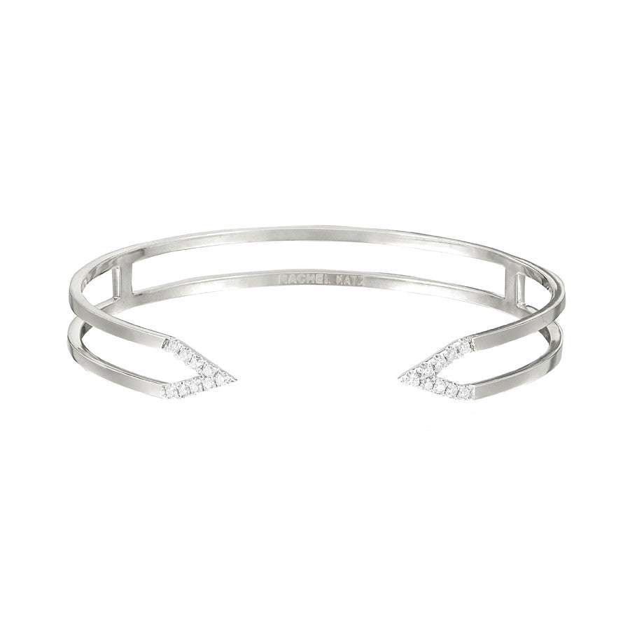 Dagger Cuff  | White Gold with White Diamonds