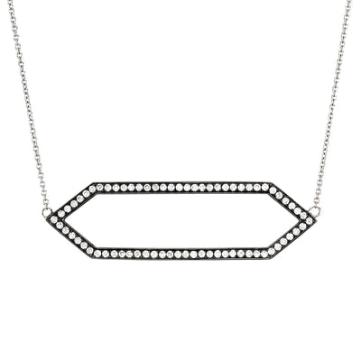 Large Diamond Marquis Necklace | Black Gold