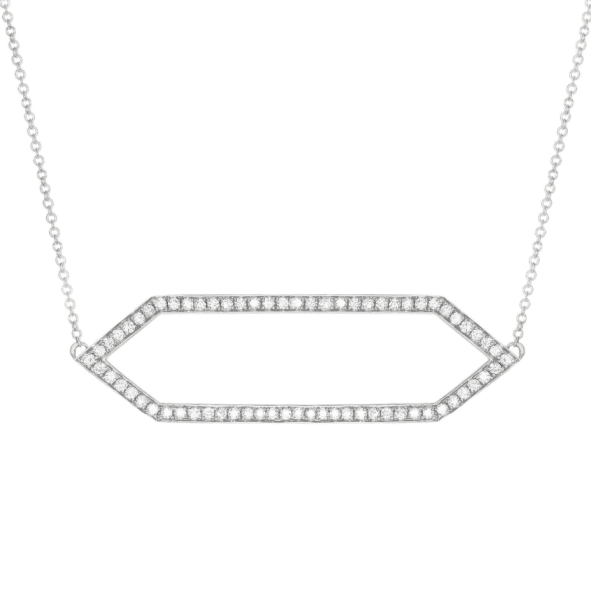 Diamond Marquis Necklace | 14K White Gold