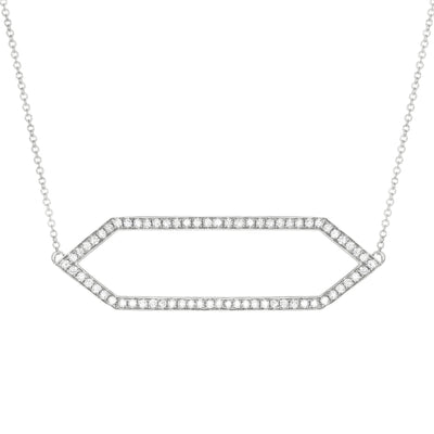 Large Diamond Marquis Necklace | White Gold