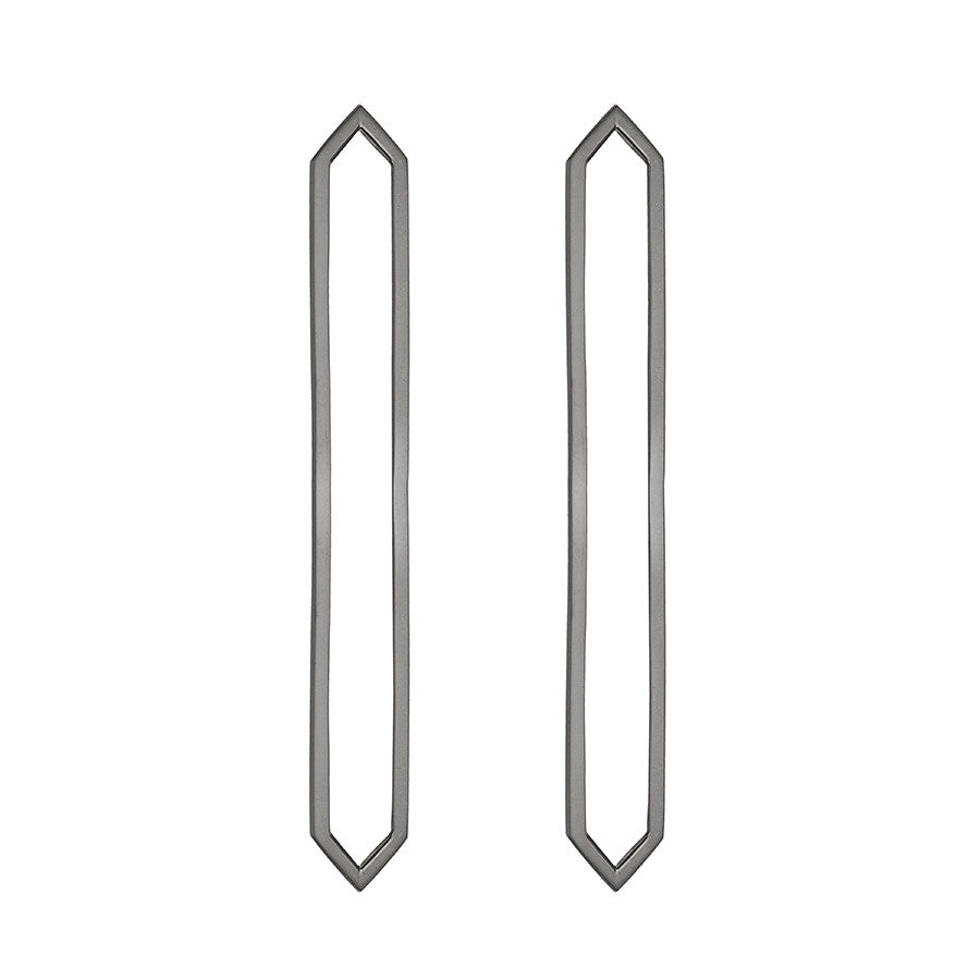 Long Marquis Earrings | 14K Black Gold