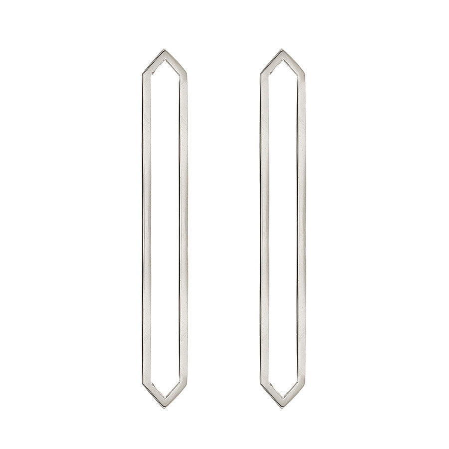 Long Marquis Earrings | White Gold