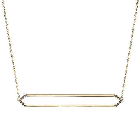 Long Marquis Necklace | 14K Gold with Black Diamonds on Points