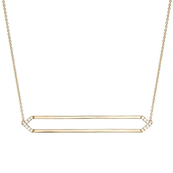Long Marquis Necklace | Gold with White Diamonds on Points