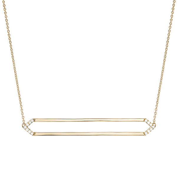 Long Marquis Necklace | 14K Gold with White Diamonds on Points