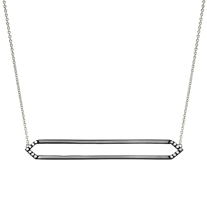 Long Marquis Necklace | Black Gold with White Diamonds on Points