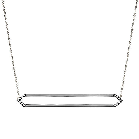 Long Marquis Necklace | 14K Black Gold with White Diamonds on Points
