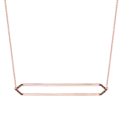 Long Marquis Necklace | 14K Rose Gold with Black Diamonds on Points