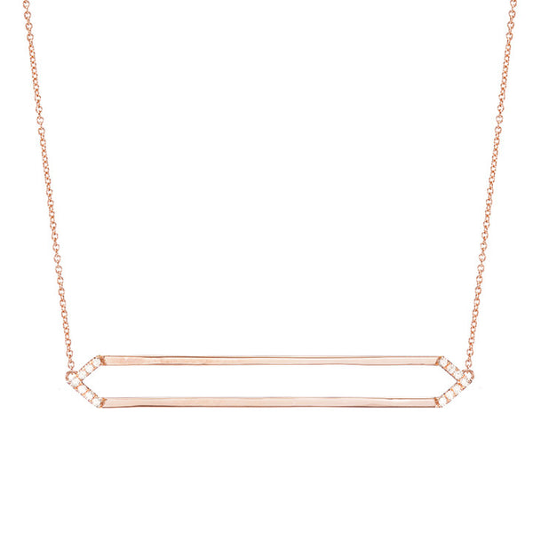 Long Marquis Necklace | 14K Rose Gold with White Diamonds on Points
