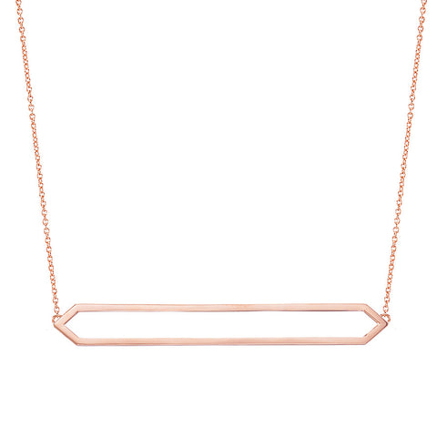 Long Marquis Necklace | 14K Rose Gold