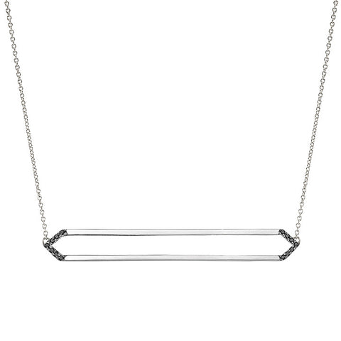 Long Marquis Necklace | 14K White Gold with Black Diamonds on Points