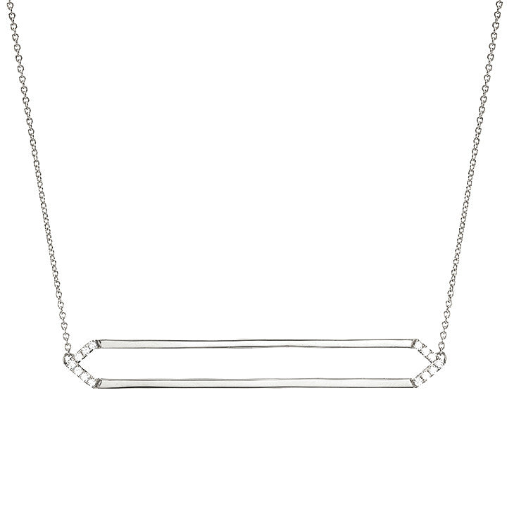 Long Marquis Necklace | 14K White Gold with White Diamonds on Points