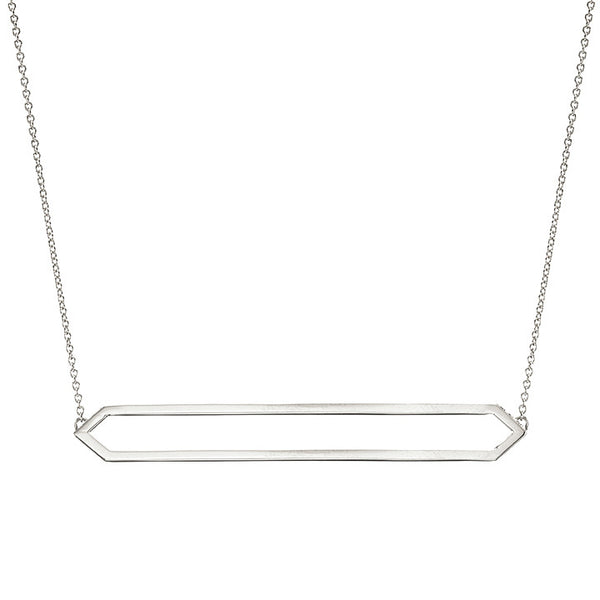 Long Marquis Necklace | 14K White Gold