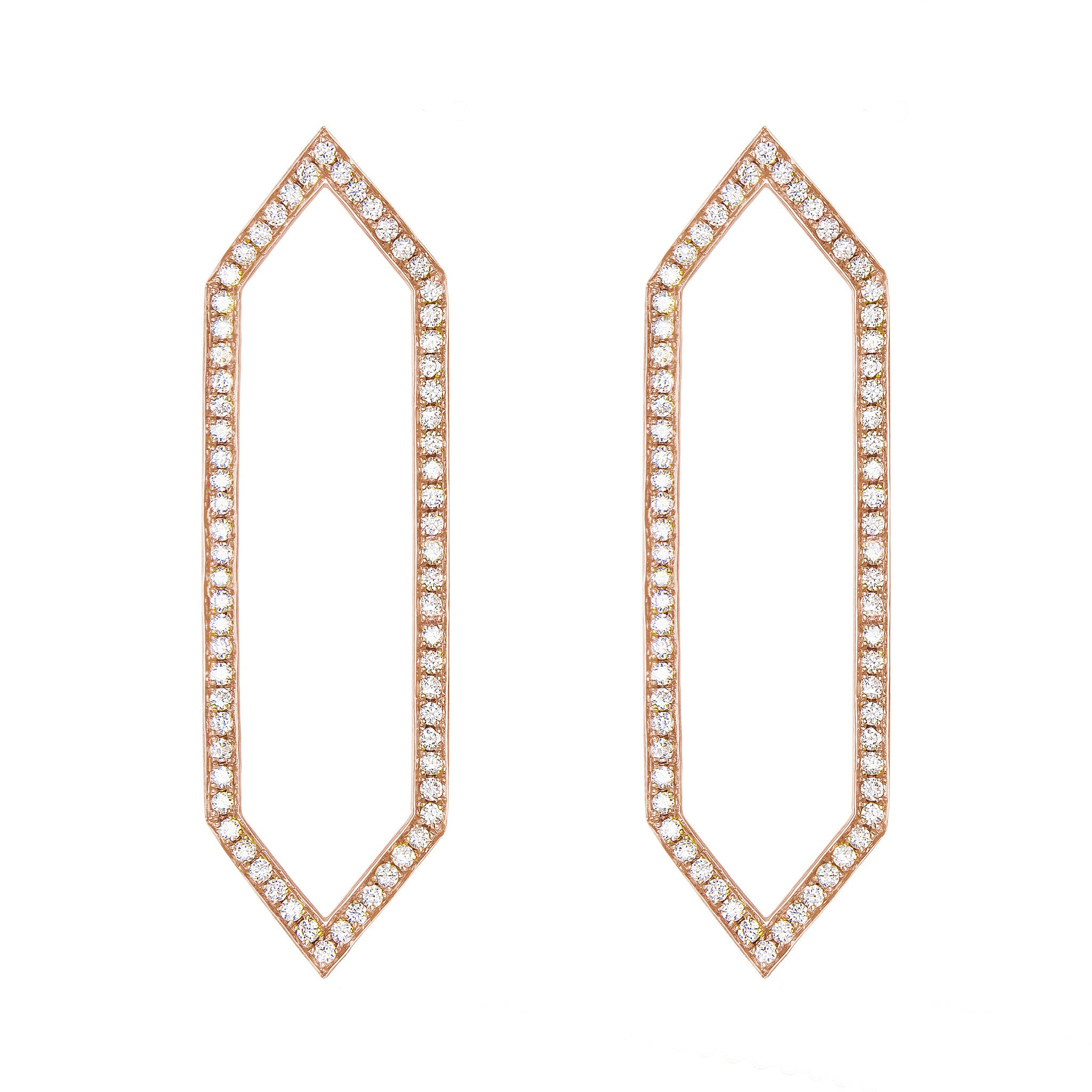 Diamond Large Marquis Earrings | Rose Gold