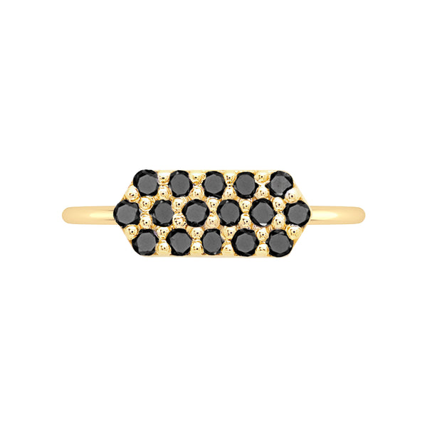Marquis Geo Stacker | Yellow Gold with Black Diamonds