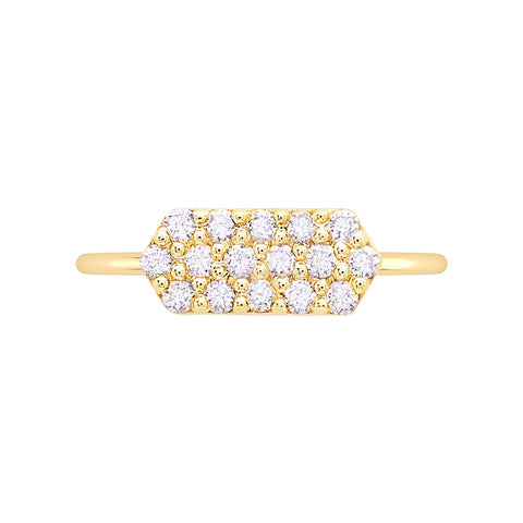 Marquis Geo Stacker | Yellow Gold with White Diamonds