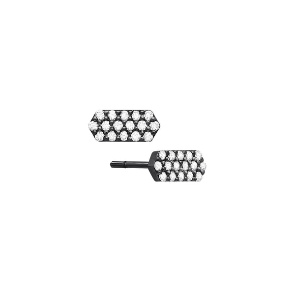 Diamond Mini Marquis Studs | Black Gold