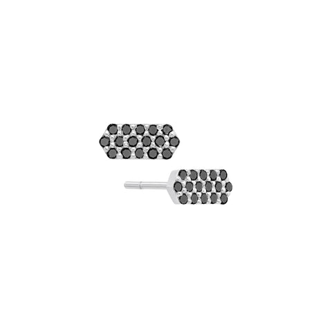 Diamond Marquis Stud Earrings | White Gold with Black Diamonds