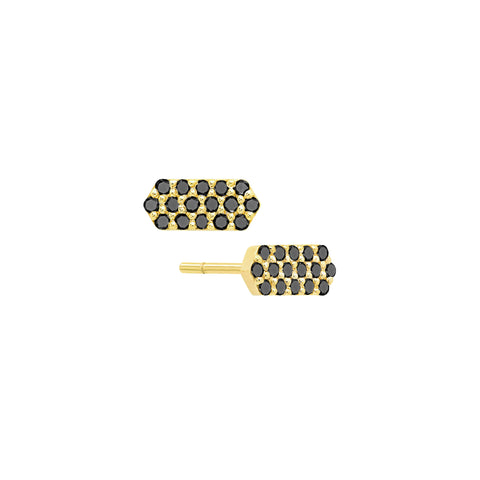 Diamond Marquis Stud Earrings | Yellow Gold with Black Diamonds