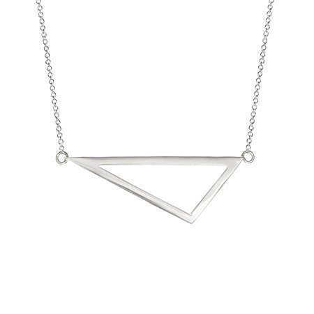 Medium Triangle Necklace | 14K White Gold