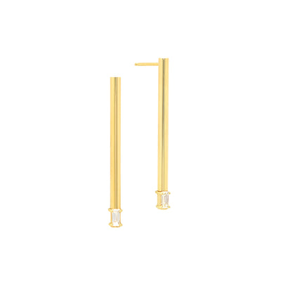 Medium Balance Earrings with Baguette Diamonds | Yellow Gold