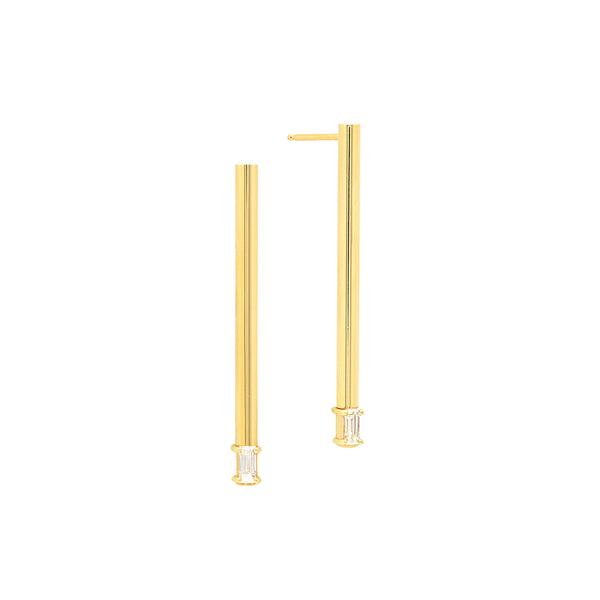Midi Line Earrings with Baguette Diamonds | 14K Yellow Gold
