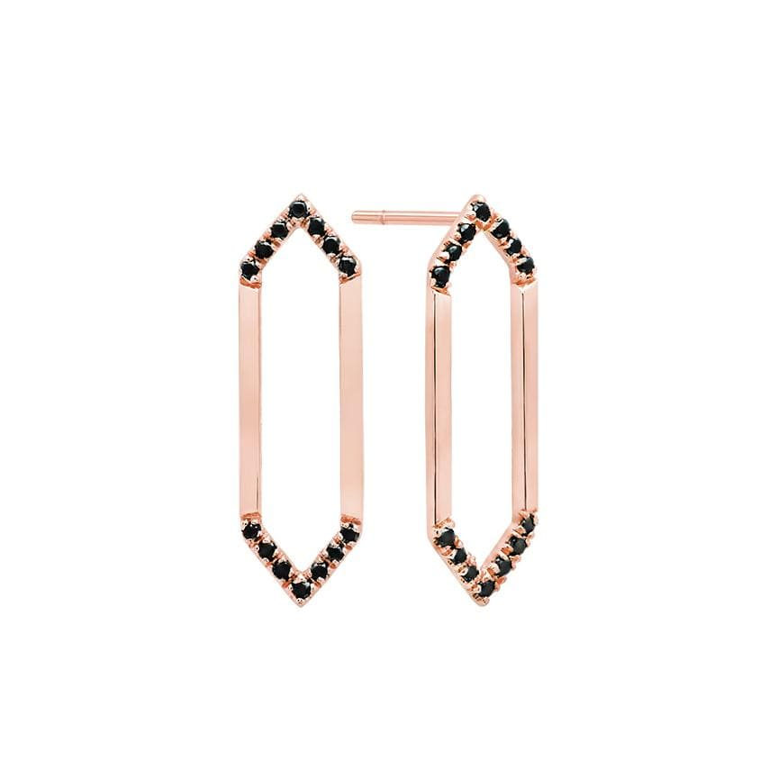 Medium Marquis Earrings | 14K Rose Gold & Black Diamonds