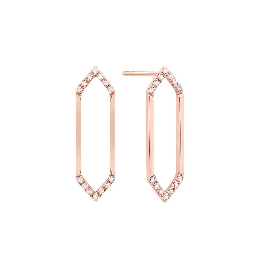 Medium Marquis Earrings | 14K Rose Gold & White Diamonds