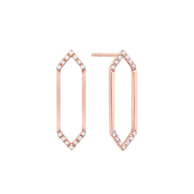 Medium Marquis Earrings | Rose Gold with Diamond Points