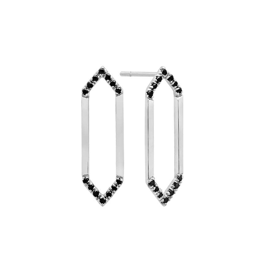 Medium Marquis Earrings | 14K White Gold & Black Diamonds