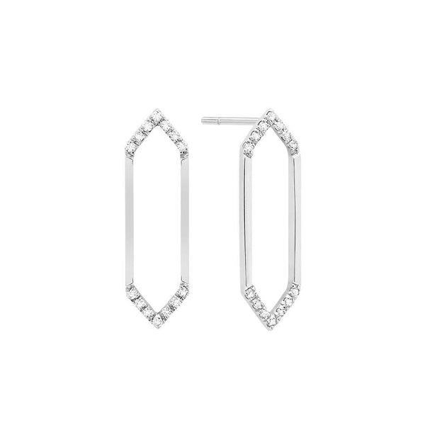 Medium Marquis Earrings | 14K White Gold & White Diamonds