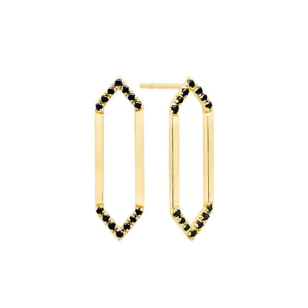 Medium Marquis Earrings | 14K Gold & Black Diamonds