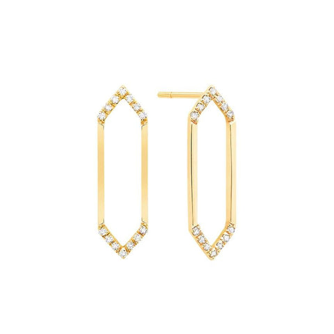 Medium Marquis Earrings | 14K Gold & White Diamonds