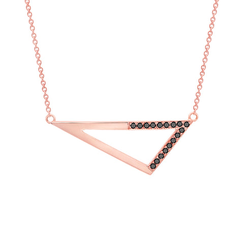 Medium Half Black Diamond Triangle Necklace | Rose Gold