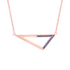 Medium Half Blue Sapphire Triangle Necklace | Rose Gold