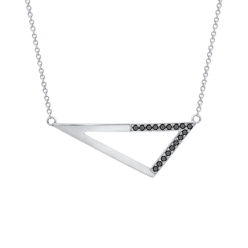Medium Half Black Diamond Triangle Necklace | White Gold