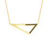 Medium Half Black Diamond Triangle Necklace | Yellow Gold