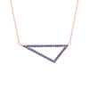 Medium Blue Sapphire Triangle Necklace | Rose Gold