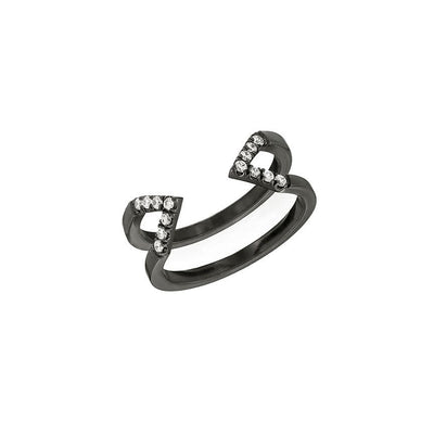 Diamond Dagger Ring - Midi | Black Gold